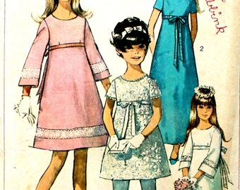 Girl's Dress in Two Lengths Size 8  Simplicity 7156