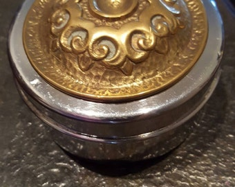 Vintage tin box with brass lid