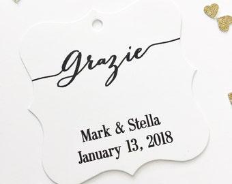 Grazie Favor Tags, Italian Thank You Wedding Favor Tags, Thank You Wedding Hang Tags  (FS-049)