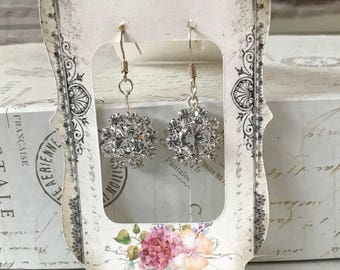 Clear Rhinestone bead earrings