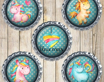 Unicorn magnets - Earth magnets - I love unicorns - Wanna be a unicorn - I'm a unicorn - Pink unicorn - Blue unicorn - Unicorn decor