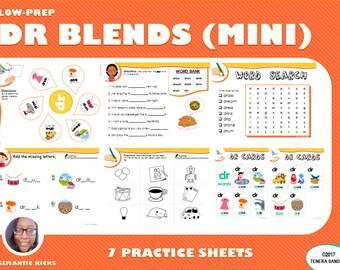 Mini Version: DR Blends Practice Workbook | 12 Pages | LOW PREP