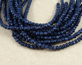 Czech Beads, 3mm English Cut, Czech Glass Beads - Matte Metallic Dark Blue Suede (EC/SM-79032) - Qty. 50