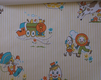 Vintage Nursery Wallpaper  Nursery Rhryme Theme Jack and Jill Humpty Dumpty Cow Jumped Over the Moon
