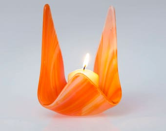 Fused glass votive, glass candle holder,  orange votive, hostess gift, wedding gift,