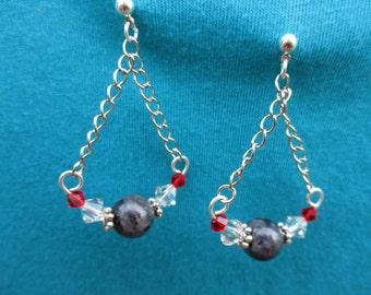 Labradorite and Swarovski Chain earrings