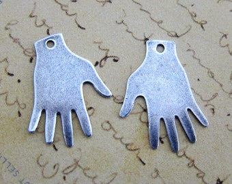 2 Silver Hand Charms 3287