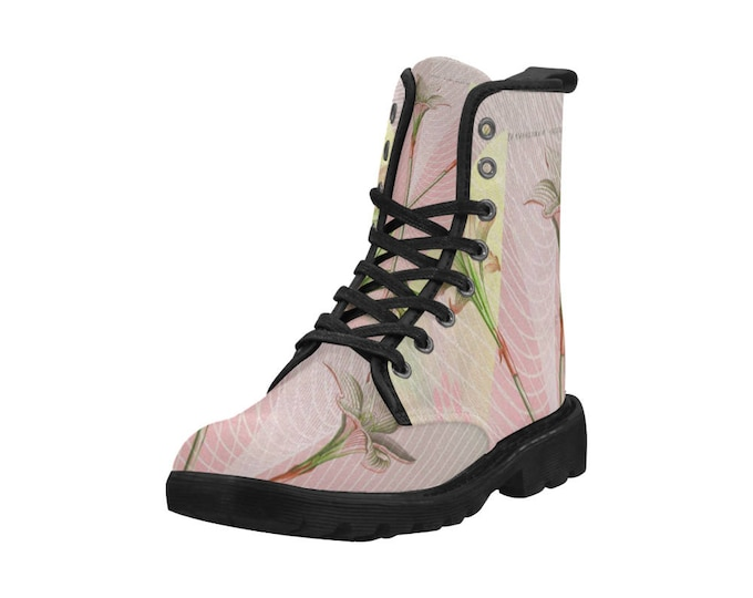 Botanical Indian lily daffodil, Women's high top combat boots, 80's style, feminine prints