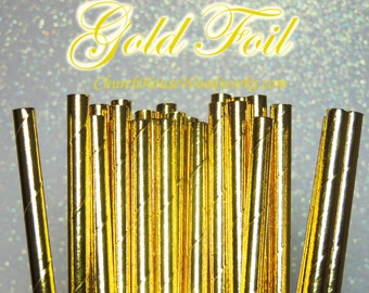 100 Gold  Paper Straws: Wedding, Baby Shower, Birthday Party, Bridal Shower, Wedding Venue, Table Decor, Gold Decor, Foil Gold