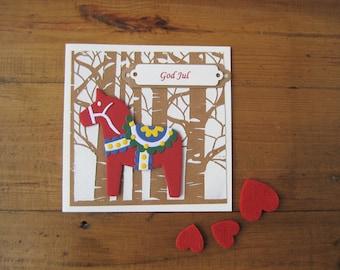 God Jul Dala Horse Christmas Card - Norwegian Swedish Danish Finnish - Scandinavian Nordic - Dala Hest Hast - Handmade Greeting - Birch