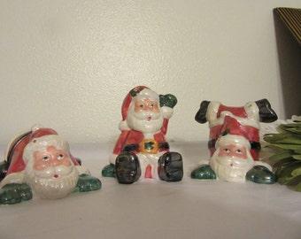 Shelf Sitters Tumbling Santas Vintage Santas Ceramic Santas  Christmas Holiday Decor Wonderful Gift for a Child Keepsake Gift