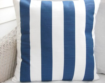 Navy Stripe Pillows Throw Cushion Covers Nautical Decorative Pillows ALL SIZES One or More Beach Pillows Coastal Pillows Couch Pillow