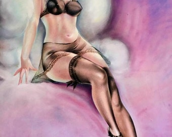 12x18 BURLESQUE Pinup Girl Art Deco 1930's Pin-Up - Nylons Stockings, Garters Panties, sheer see through Lingerie Midcentury Modern  Fantasy