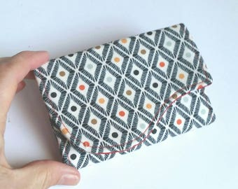 Small Geometric Card Holder Wallet in Navy White Rainbow  Print
