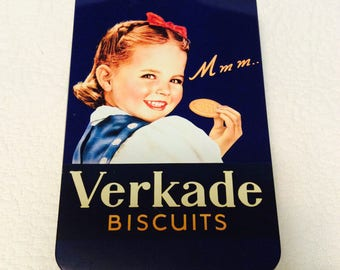 Rare HOLLAND VERKADE Tin Box Biscuits Navy Blue Girl Collectible