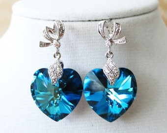 Zana - Bermuda Blue Swarovski Heart Crystal Earrings - something blue wedding, gifts for her, bridal brides bridesmaid earrings