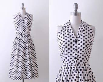 50's polka dot sundress. black & white. full skirt. 1950 cotton dress. xs.