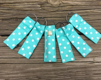 Ribbon lip balm key chains in turquoise