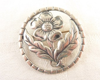 SALE ---- Vintage Round Cutout Sterling Flower Brooch