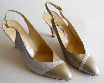 vintage 1980s Raphael slingback heels, white and light tan, camel *** PRICE REDUCED ***