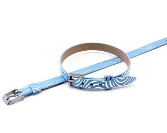 Silver pattern sky blue leather bracelet