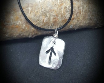 Tyr Pewter rune adjustable leather necklace