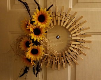 Sunflower Clothes Pin Wreath