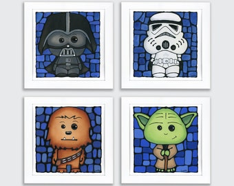 Star Wars Nursery Prints - Set of 4 - FREE Shipping - Stormtrooper, Vader, Chewy, Yoda - Geeky Wall Art - Boy Bedroom - Sci-fi Nursery Decor