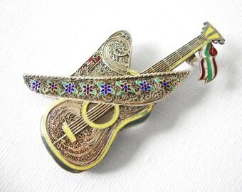 Vintage Topazio Vermeil Sterling Silver Filigree Guitar Brooch With Enamel