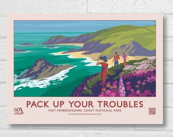"Pembrokeshire Coast ""Pack Up Your Troubles"" 60th Anniversary Retro Poster."