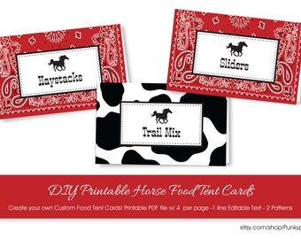Cowboy Food Tent Cards with Editable Text, Western Horse Food Tent Cards, Instant Download Cowboy Party Food Labels