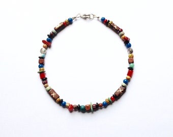 Red Coral, Brown and Blue Beaded Anklet 10 5/8 Inches