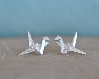 Crane Stud Earrings, Sterling Silver Bird Origami Earrings, Crane Earrings, Silver Crane Origami Earrings, Origami Jewelry, Jamber Jewels