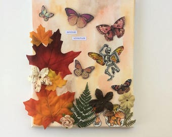 Autumn Flying Skeleton - Watercolor - Mixed Media Painting