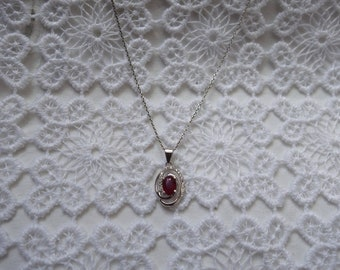 LOVE silver and Ruby necklace