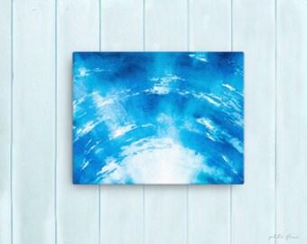 Watercolor Ocean Painting Abstract Canvas Print - Aqua Teal Blue Sea Coastal Beach Giclee Art Print - 8x10/11x14/12x16/16x20 - Marine Blue