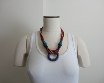 VINTAGE colorful wooden BEADED NECKLACE