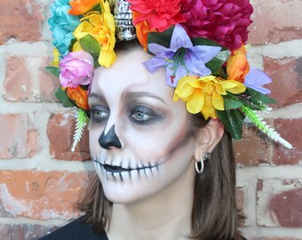 Stunning and Unique - Day of the Dead | Frida Kahlo Style Flower Headdress in Bright Colours