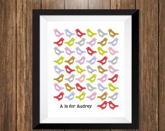 Custom Name Lovebird Modern Art Print, personalized print, personalized gift, family home art