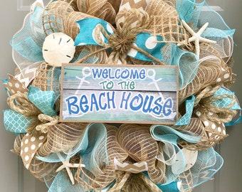 Beach Wreath, Burlap Deco Mesh Wreath with Seashells, Welcome To The Beach House, Nautical Wreath, Seashell Wreath, Welcome Wreath