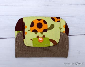 Kids wallet, turtle wallet for kids, small zipper pouch with turtles pattern