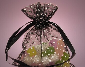 Mothers Day Sale 10 Pack Sheer Organza Drawstring Bags  2.75 X 4 Inch Size Great For Gifts polka dot style