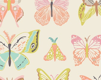Pink Quilting Fabric with Butterflies | Nursery Fabric | Wingspan Melon | Winged | Art Gallery Fabrics WNG-1020 | Bonnie Christine