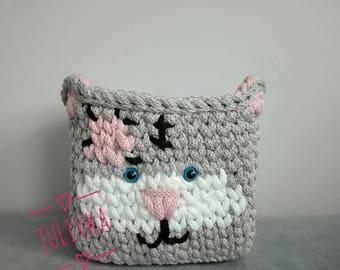 Crochet basket Cat, Kitty Basket, Kids room decor, nursery basket