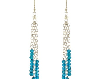 Dark Apatite and Sterling Silver 3 Chain Earrings