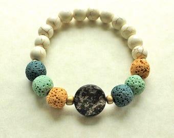 Natural Diffuser Bracelet, Wood Bracelet, Natural Jewelry, Diffuser Jewelry, Essential Oils, Aromatherapy, EO Bracelet, Lava Rocks, Howlite