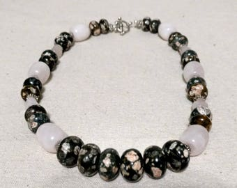Rhyolite and Rose Quartz Necklace and Earrings