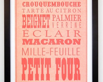 Fancy French Pastries, Epicurean Letterpress Broadside