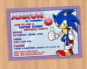 Sonic the Hedgehog Birthday Invitation Printable DIY