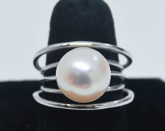 Modern Pearl Ring | 12 mm Pearl | Silver Statement Ring | Size 7